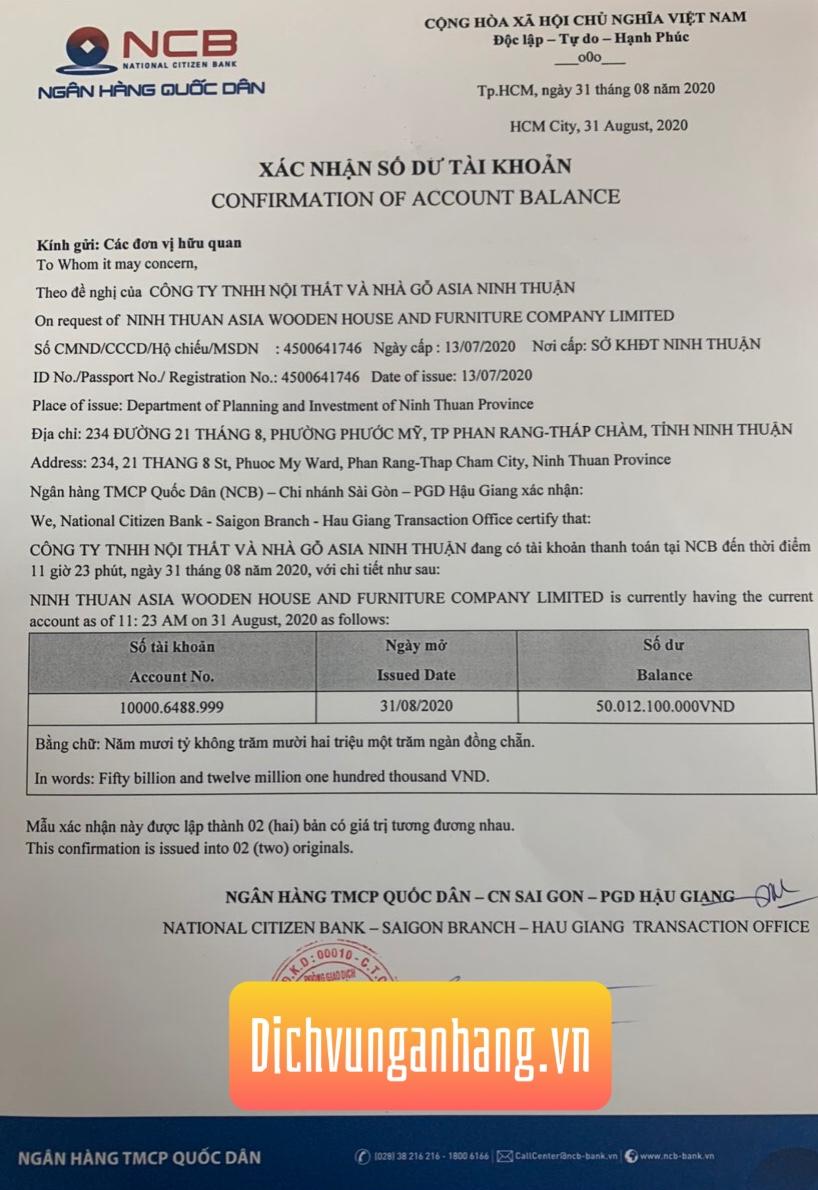 dịch vụ xác nhận số dư tài khoản